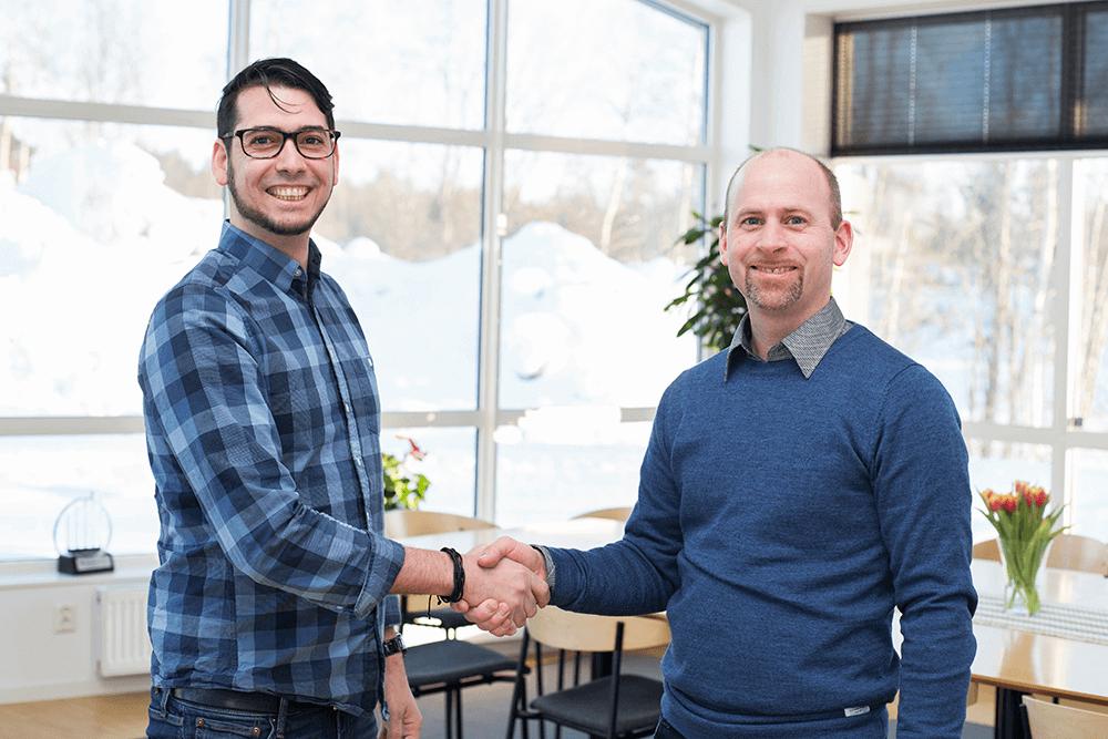 Edel Puntonet, VD på Jo Kommunikation och Anton Johansson, vice VD på Rekab Entreprenad.